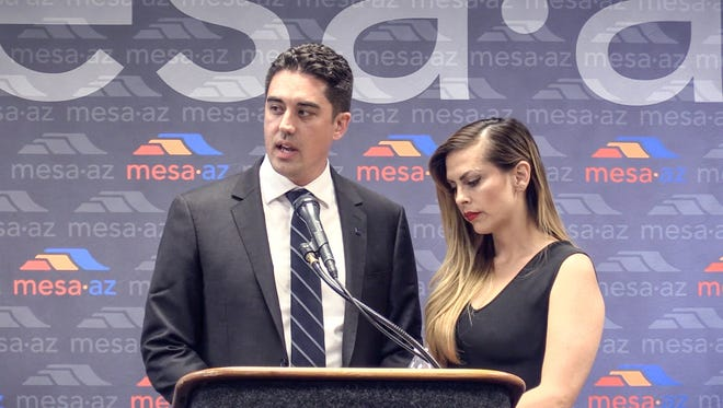 Mesa Councilman Ryan Winkle holds a press conference on May 18, 2017, with wife Ericka Varela to address his arrest by Tempe police on suspicion of driving under the influence on May 7, 2017.