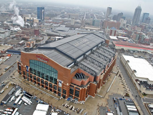 Lucas Oil Stadium is seen in an aerial, Wednesday, January 25, 2012, with the Indianapolis skyline.  Kelly Wilkinson / The Star from WTHR Chopper 13