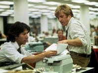 """Dustin Hoffman and Robert Redford played Washington Post reporters Carl Bernstein and Bob Woodward, respectively, as they traced the Watergate scandal in """"All the President's Men."""""""