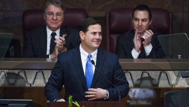 Gov. Doug Ducey delivers his State of the State address at the Arizona Capitol on Jan. 9, 2017.