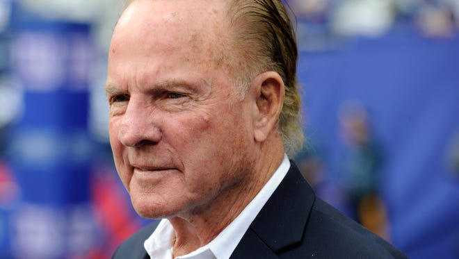 FILE - In this Sept. 15, 2013 file photo, former New York Giants player Frank Gifford looks on before an NFL football game between the New York Giants and the Denver Broncos in East Rutherford, N.J. Gifford's family on Sunday, Aug. 9, 2015 said Gifford died suddenly of natural causes. He was 84. (AP Photo/Bill Kostroun, File)