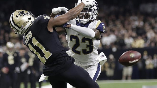 This play between the Rams Nickell Robey-Coleman and Tommylee Lewis in the 2019 NFC champion sparked the addition of replay for pass interference penalty for last season. Barring a stunning turnaround, the rule will disappear Thursday.