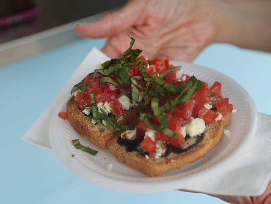 The bruschetta from the Let's Toast, gourmet toast