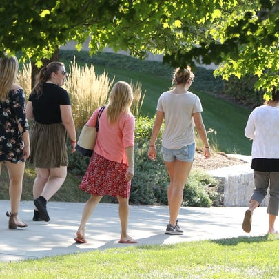 Students at Marist College in Poughkeepsie Sept. 25,