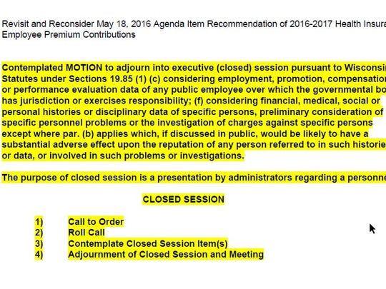 A screen shot of the closed session agenda item on the May 25, 2016, Merrill Area Public Schools' Special Board of Education meeting agenda.
