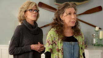 "Jane Fonda, left, and Lily Tomlin in a scene from the Netflix series ""Grace and Frankie."""