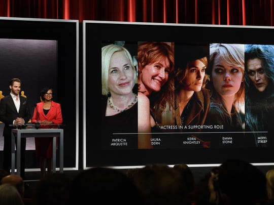 The Oscar nominees for Best Actress in a Supporting Role are announced by Chris Pine and Academy President Cheryl Boone during the Academy Awards Nominations Announcement at the Samuel Goldwyn Theater in Beverly Hills, California on Jan. 15.