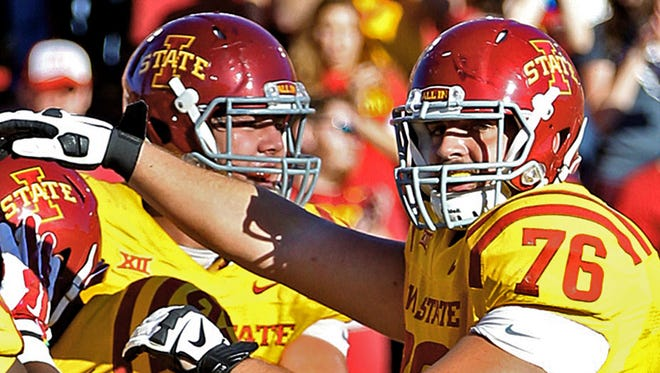 Jamison Lalk, far right, has emerged as the front-runner for Iowa State's center spot.