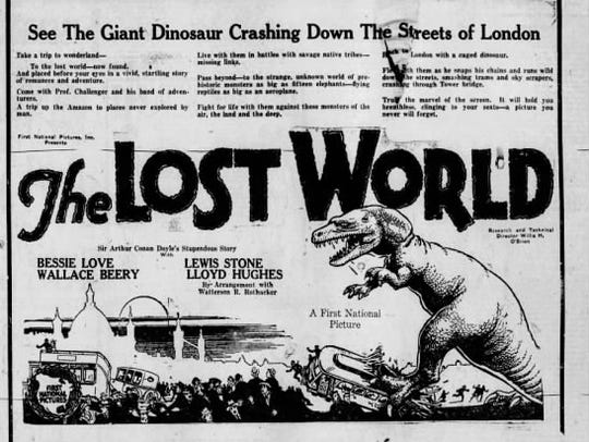 "Advertisement for ""The Lost World"" movie in a July"