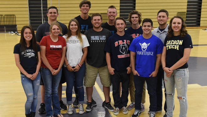 Spanish Springs had 12 athletes sign letters of intent for college Wednesday at the school.