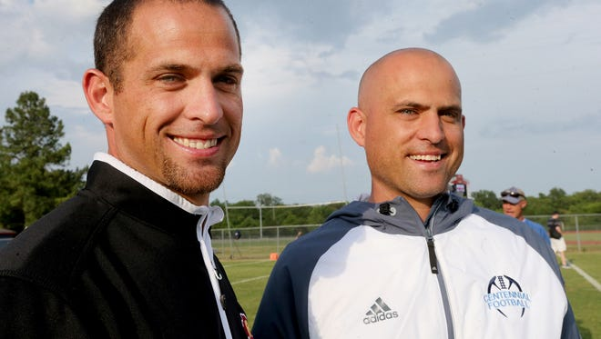 Riverdale football coach Will Kriesky, left, and his twin brother, Centennial football coach Matt Kriesky, will face each other as head coaches for the first time this week.