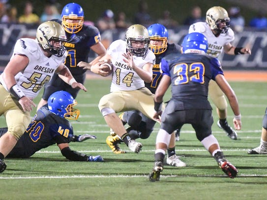 Dresden's Zach Crawford attempts to run past Westview