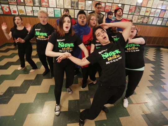 "The Masquers rehearse on April 28 for their upcoming production of ""Shrek the Musical. The musical will be performed May 12-15 at the Capitol Civic Centre."