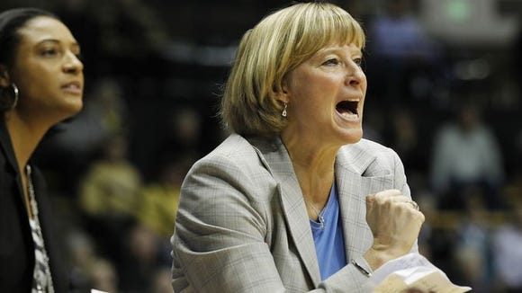 Sharon Versyp screams for her players to foul as they trail Wisconsin with less than a minute in regulation Thursday, January 15, 2015, at Mackey Arena on the campus of Purdue University. Wisconsin shocked Purdue 65-56.