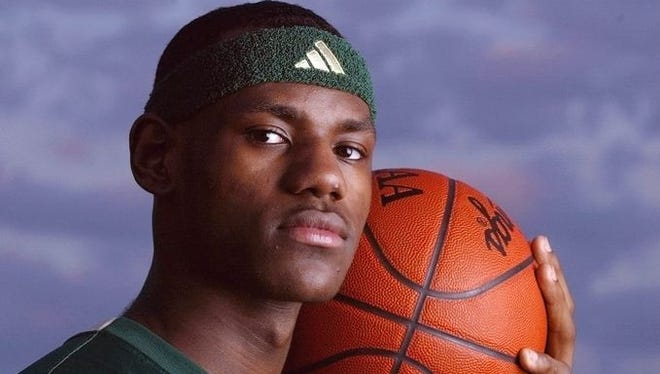 """LeBron James' road to NBA stardom seemingly started while he was still in high school. As a standout for St. Vincent-St. Mary's High School in Akron, Ohio, James quickly earned """"next big thing"""" status with sports magazine covers and recognition on the USA TODAY All-USA boys basketball team for three consecutive years."""