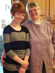 Abigail Kopf, left, and family friend Barbara Hawthone.