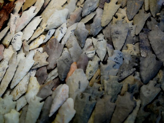 A collection of arrowheads that were found at Poverty