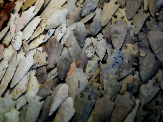 A collection of arrowheads that were found at Poverty Point on display at the museum.