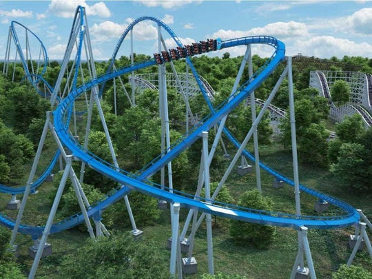 A CGI-rendered image of The Orion, a new steel roller coaster that will debut at Kings Island amusement park in Mason, Ohio, on April 11. The Orion is one of seven giga coasters in the world, which have a height or drop of 300 feet to 399 feet. The Orion will move at 91 mph and have a 300-foot drop.