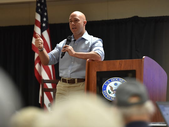 Congressman Brian Mast at a Feb. 24 town hall meeting
