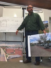 Developer Adam Dubroff on Monday describes a scaled-down version of a hotel proposed for downtown Winooski  to City Council members. Photographed on May 16, 2017.