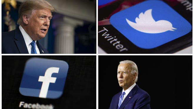 This photo combo of images shows, clockwise, from upper left: President Donald Trump speaking during a news conference at the White House on July 22, 2020, in Washington, the Twitter app, Democratic presidential candidate, former Vice President Joe Biden speaking during a campaign event on July 14, 2020, in Wilmington, Del., and the Facebook app.