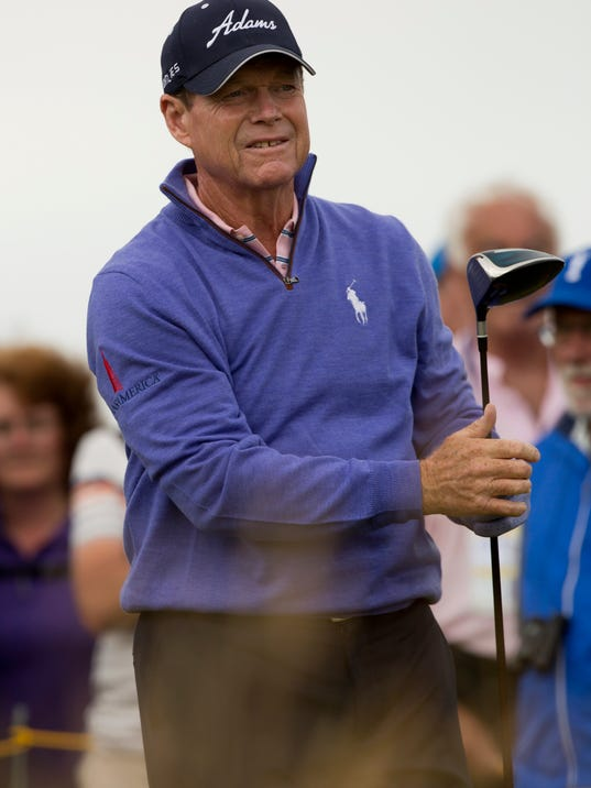 Tom Watson of the US watches a shot off the 7th tee during a practice round at the Royal Liverpool Golf Club prior to the start of the British Open Golf Championship, in Hoylake, England, Monday, July 14, 2014. The 2014 Open Championship starts on Thursday, July 17. (AP Photo/Jon Super)