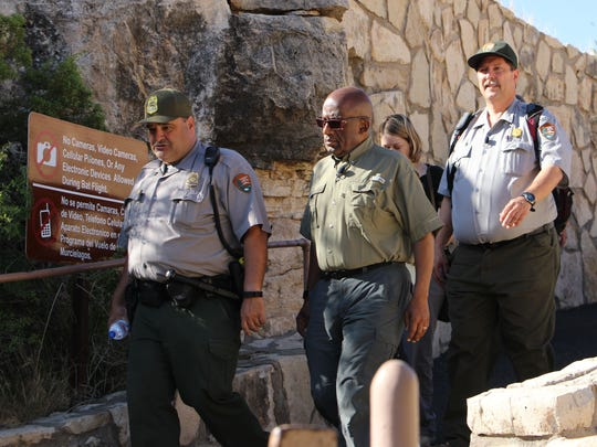 Al Roker and members of Carlsbad Caverns National Park head into the cave.