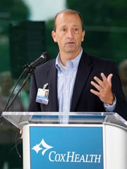 Cox CEO Steve Edwards speaks about the new extension at Cox South hospital in Springfield on June 27, 2015.