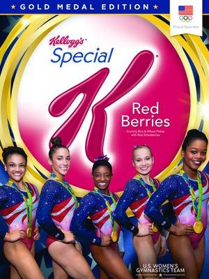 Kellogg's box featuring U.S. women's gymnastics team.
