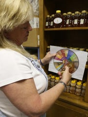 Alisa Lear shows how honey is graded based on color.
