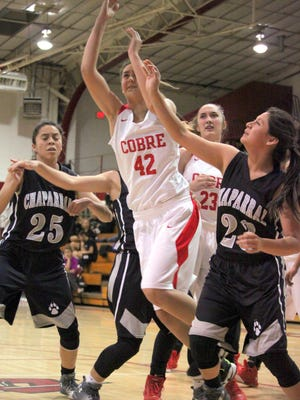 Cobre's Skkyla Guck tossed the ball up in traffic to hit the game-winning shot Thursday night at home against Chaparral. She finished with 10 points on the night.