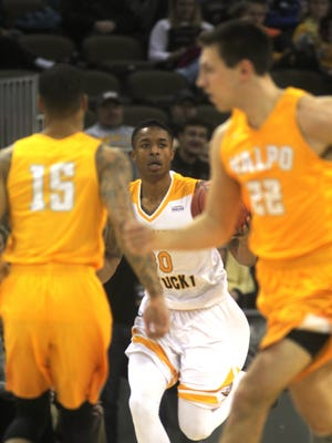 NKU junior Lavone Holland looks for an opening during NKU's game vs Valparaiso in Horizon League play Feb. 26, 2017 at BB&T Arena.