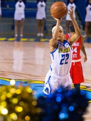 The University of Delaware's Samone DeFreese, 22, attempts