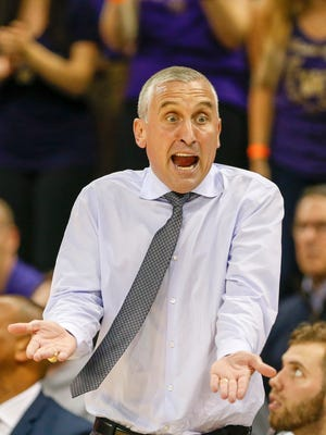 Feb 1, 2018; Seattle, WA, USA; Arizona State Sun Devils head coach Bobby Hurley reacts to a foul in favor of the Washington Huskies during the first half at Alaska Airlines Arena. Mandatory Credit: Joe Nicholson-USA TODAY Sports