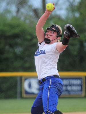 Simon Kenton freshman Macy Krohman pitches to Notre Dame during Notre Dame's 8-6 win over Simon Kenton in softball May 2, 2018 at Notre Dame Academy, Park Hills KY.