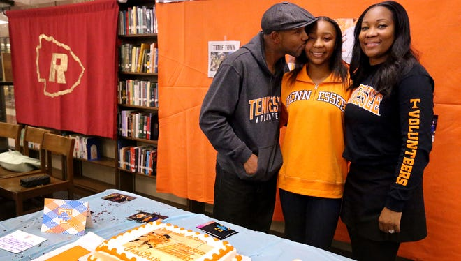 With her parents Arnett and Sherry Hayes on hand, Riverdale's Anastasia Hayes, center, signed with Tennessee on Wednesday.
