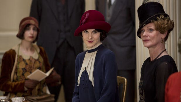 "Mary Crawley and her Aunt Rosamund attend a ""dress show"" in this week's episode of ""Downton Abbey."""