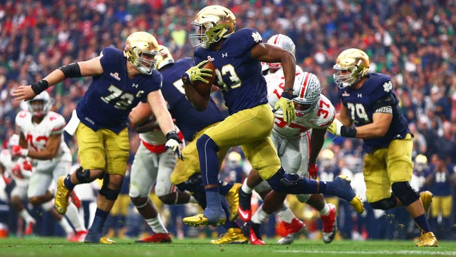 Notre Dame running back Josh Adams headlines a list of excellent skill-position players for the Irish.