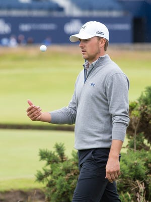 Jordan Spieth  walks to the second tee during a practice round at St Andrews Golf Club prior to the start of the British Open Golf Championship, in St. Andrews, Scotland, Monday.