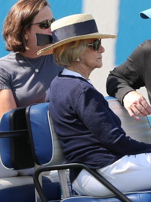 Lions owner Martha Ford watches practice Monday, July 31, 2017, at the practice facility in Allen Park.