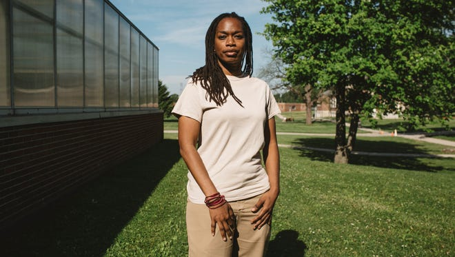 "Michelle Jones poses for a portrait at Indiana Women's Prison in Indianapolis on May 17, 2017. She said, ""I believe that for humanity to heal, the broken-ness of the victim and the victimizer cannot be answered by increased punitive measures and mass incarceration and collateral consequences of criminal convictions. Its not the answer to heal humanity.""  Jones was sentenced to 50 years in prison for the murder of her 4 year old son, but released after 20 years due to good behavior and educational attainment in August of 2017. She was turned down by Harvard and was accepted by New York University, for their Ph.D. program in American studies."