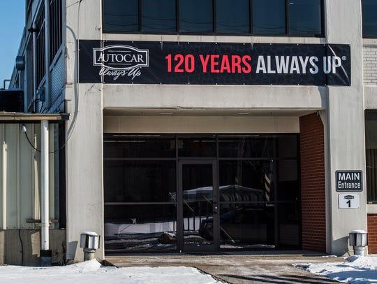 The front entrance of Autocar Trucks, 551 S. Washington