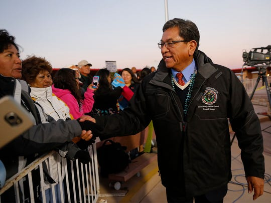 "Navajo Nation President Russell Begaye greets people on Nov. 9 during a live broadcast of ""The Today Show"" at the Four Corners Monument."