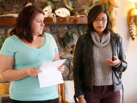 """Annette DiGiacomo, left, and Cherise Loma rehearse a scene from """"The Vagina Monologues"""" last Sunday."""