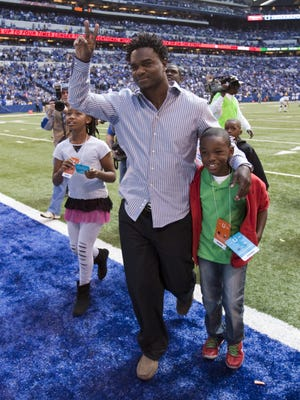 Edgerrin James, former Colts running back, walks off the field after being inducted into the Ring of Honor for the Indianapolis Colts, Lucas Oil Stadium, Indianapolis, Sunday, September 23, 2012. Robert Scheer/The Star
