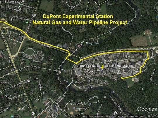 A map of the natural gas and water pipeline leading to the Experimental Station.