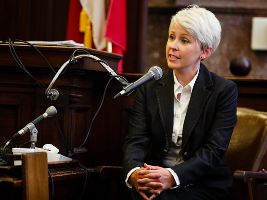 Former Iowa Senate Republican caucus staffer Kirsten Anderson testifies in her lawsuit against the state alleging she experienced sexual harassment in her job and was fired for reporting it. on Tuesday, July 11, 2017 in Des Moines.