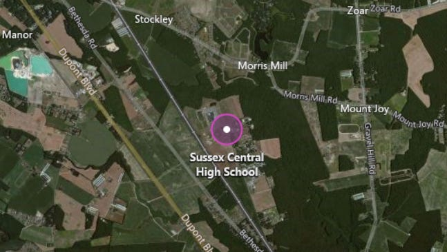 A 18-year-old student at Sussex Central High School made online threats against his school, police said.