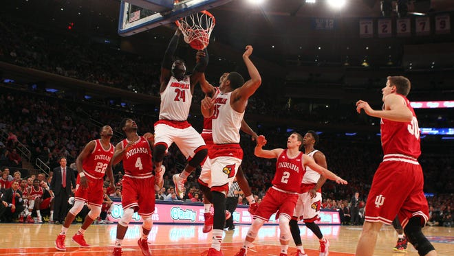 Dec 9, 2014; New  York, NY, USA; Louisville Cardinals forward Montrezl Harrell (24) dunks against the Indiana Hoosiers during the first half at Madison Square Garden. Mandatory Credit: Brad Penner-USA TODAY Sports